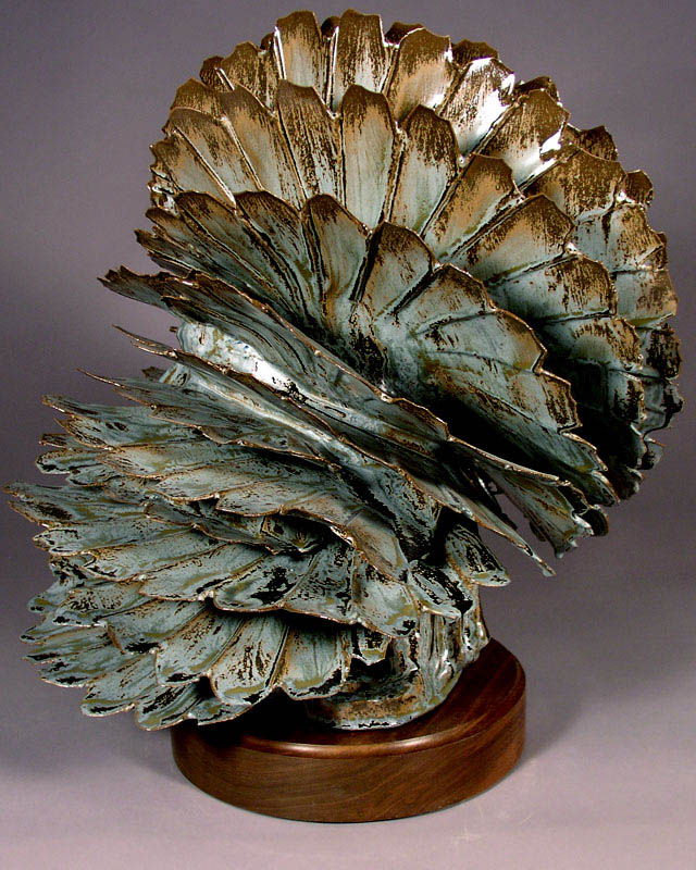 SILVER LEAF ABSTRACT CERAMIC SCULPTURE By Larry Boyer Artist